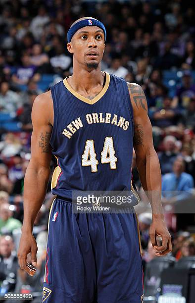 Dante Cunningham of the New Orleans Pelicans looks on during the game against the Sacramento Kings on January 13 2016 at Sleep Train Arena in...