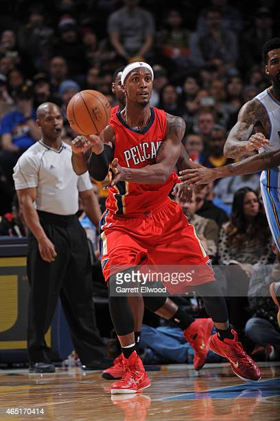 Dante Cunningham of the New Orleans Pelicans makes a pass against the Denver Nuggets on March 1 2015 at the Pepsi Center in Denver Colorado NOTE TO...