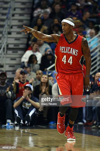 Dante Cunningham of the New Orleans Pelicans reacts to a score during the first half of a game against the Utah Jazz at the Smoothie King Center on...