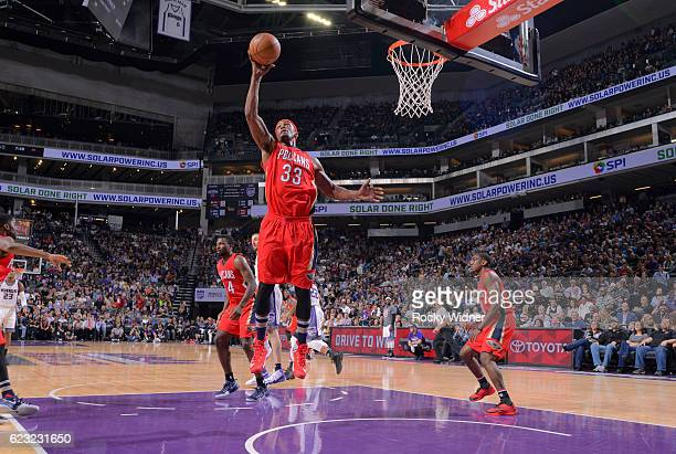 Dante Cunningham of the New Orleans Pelicans rebounds against the Sacramento Kings on November 8 2016 at Golden 1 Center in Sacramento California...