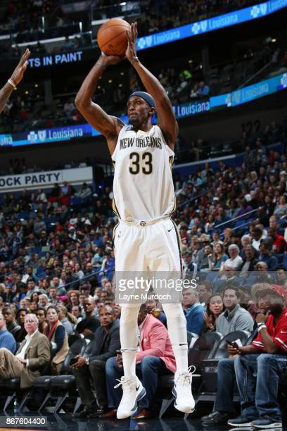 Dante Cunningham of the New Orleans Pelicans shoots the ball against the Cleveland Cavaliers on October 28 2017 at the Smoothie King Center in New...