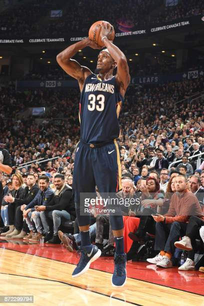 Dante Cunningham of the New Orleans Pelicans shoots the ball against the Toronto Raptors against the Toronto Raptors on November 9 2017 at the Air...