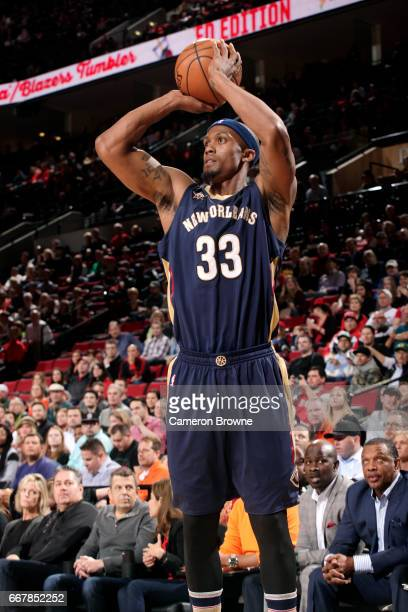 Dante Cunningham of the New Orleans Pelicans shoots the ball during the game against the Portland Trail Blazers on April 12 2017 at the Moda Center...