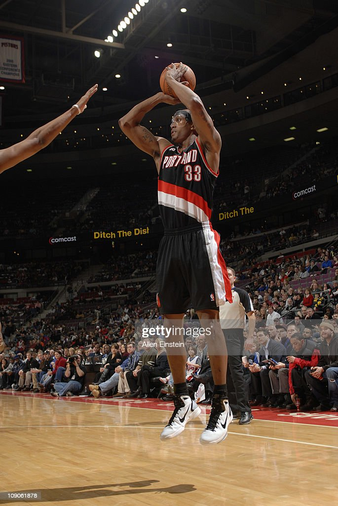 <a gi-track='captionPersonalityLinkClicked' href=/galleries/search?phrase=Dante+Cunningham&family=editorial&specificpeople=683729 ng-click='$event.stopPropagation()'>Dante Cunningham</a> #33 of the Portland Trail Blazers shoots against the Detroit Pistons on February 13, 2011 at The Palace of Auburn Hills in Auburn Hills, Michigan.