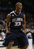Dante Cunningham of the Villanova Wildcats celebrates defeating the Pittsburgh Panthersduring the NCAA Men's Basketball Tournament East Regionals at...