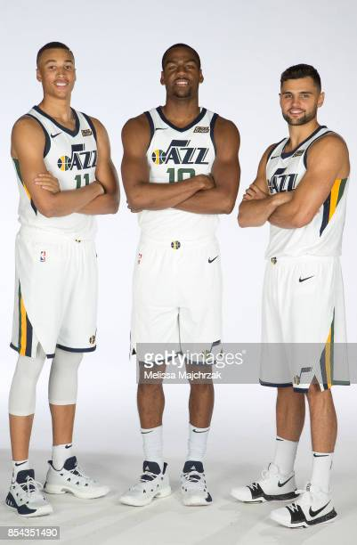 Dante Exum Alec Burks and Raul Neto of the Utah Jazz poses for a photo during media day at Zions Bank Basketball Center on September 25 2017 in Salt...