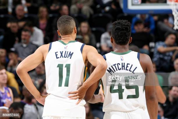 Dante Exum and Donovan Mitchell of the Utah Jazz are seen during a preseason game against the Sydney Kings on October 2 2017 at vivintSmartHome Arena...