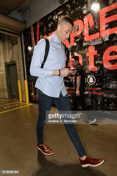 Dante Exum of the Utah Jazz arrives before the game against the LA Clippers in Game Five of the Western Conference Quarterfinals of the 2017 NBA...