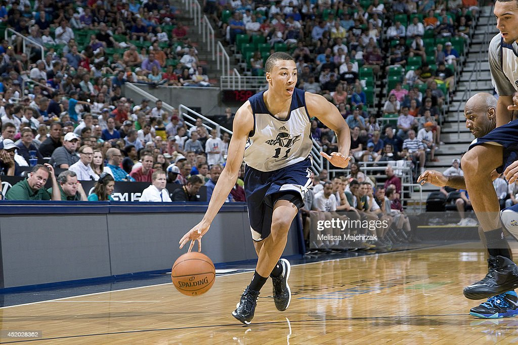 Dante Exum #11 of the Utah Jazz drives during an open scrimmage at Energy Solutions Arena on July 8, 2014 in Salt Lake City, Utah.