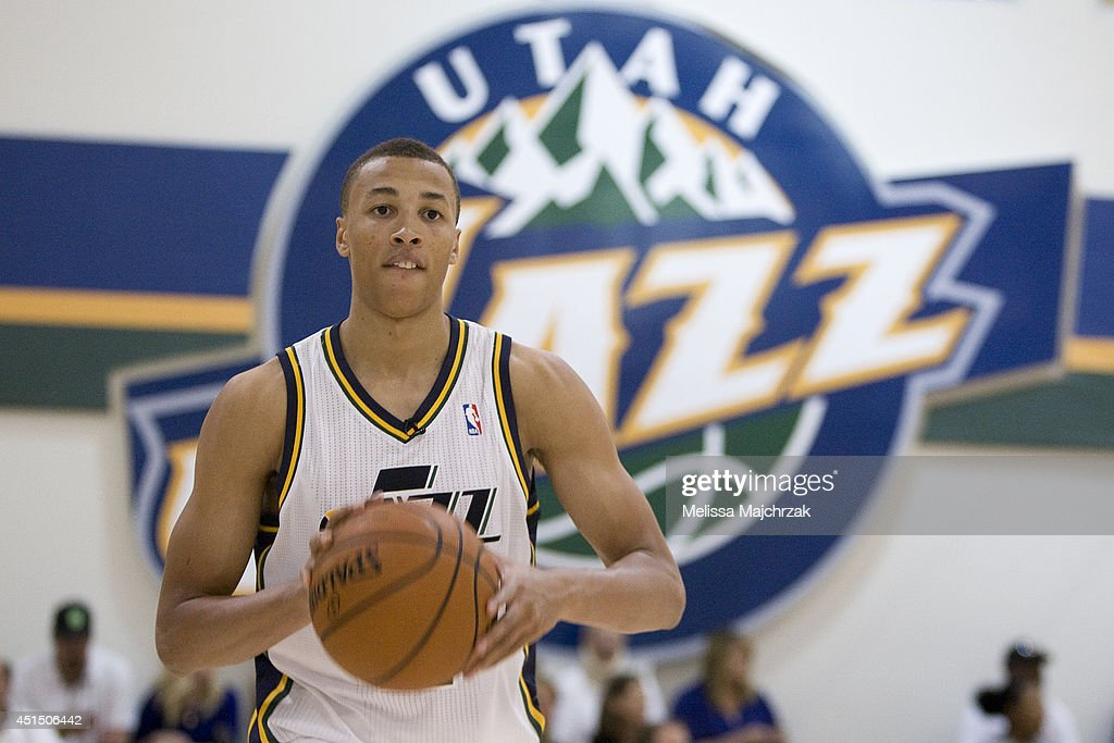 Dante Exum #11 of the Utah Jazz passes the ball at a special Olympics at the Zions Basketball Center on June 28, 2014 in Salt Lake City, Utah.