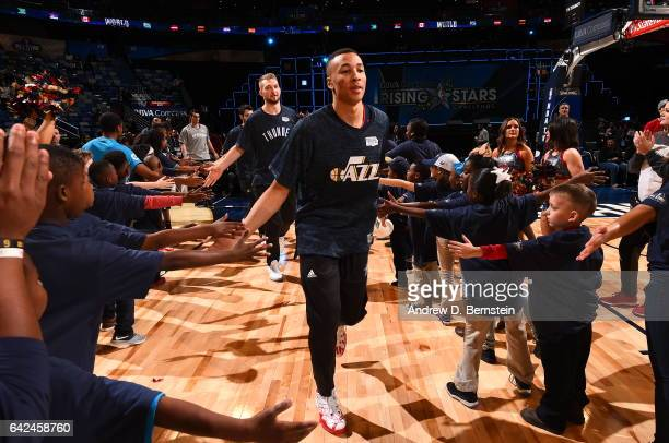 Dante Exum of the World Team gets introduced before the game against the USA Team during the BBVA Compass Rising Stars Challenge as part of 2017...