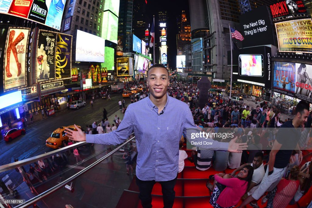 Dante Exum poses at Times Square prior to the 2014 NBA Draft on June 23, 2014 in New York City, New York.