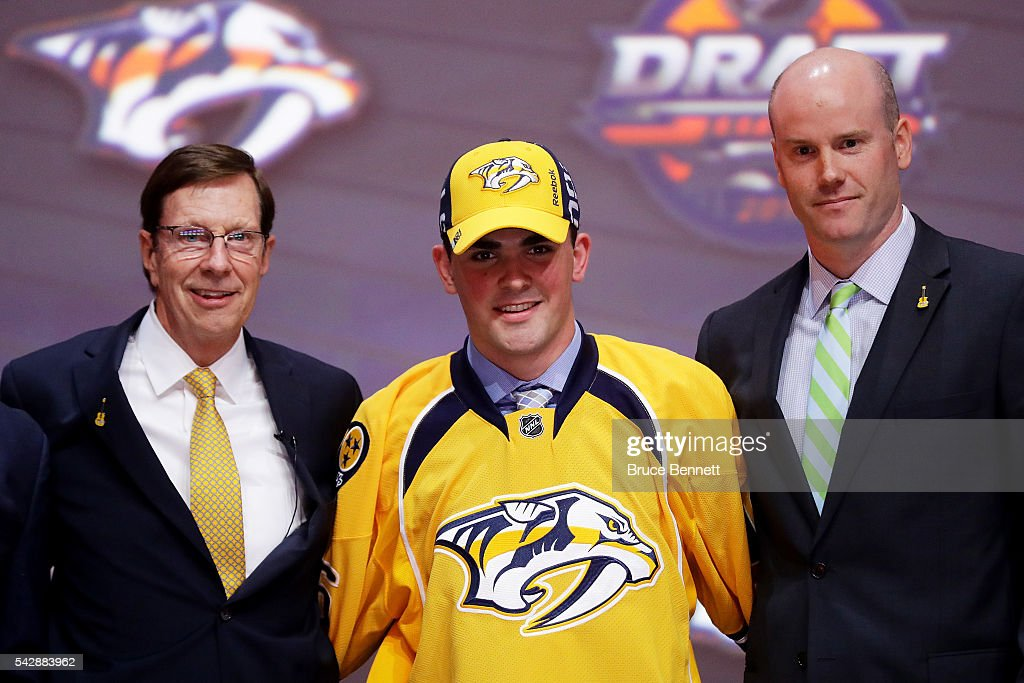 Dante Fabbro celebrates with the Nashville Predators after being selected 17th during round one of the 2016 NHL Draft on June 24, 2016 in Buffalo, New York.