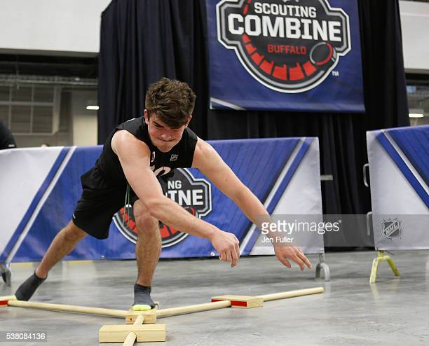 Dante Fabbro does the Ybalance test during the NHL Combine at HarborCenter on June 4 2016 in Buffalo New York