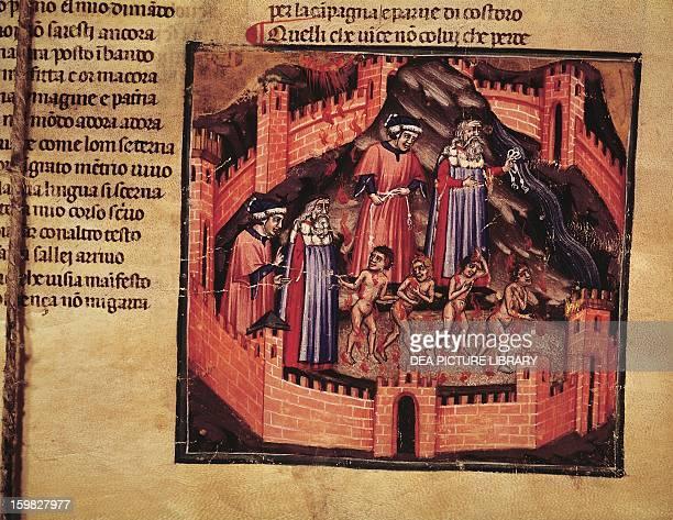 Dante in Hell scene from the Divine Comedy by Dante Alighieri miniature manuscript 112 14th century Rome Biblioteca Angelica
