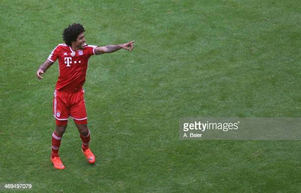 Dante of Bayern Muenchen celebrates his goal during the Bundesliga match between FC Bayern Muenchen and SC Freiburg at Allianz Arena on February 15...