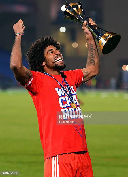 Dante of Muenchen celebrates with the trophy after winning the FIFA Club World Cup Final between FC Bayern Muenchen and Raja Casablanca at Marrakech...