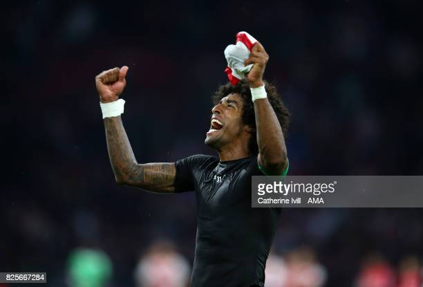 Dante of OGC Nice celebrates after the UEFA Champions League Qualifying Third Round match between Ajax and OSC Nice at Amsterdam Arena on August 2...