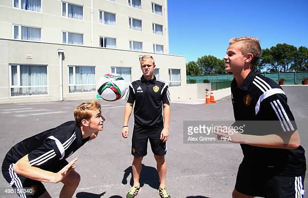 Dante Rigo Matthias Verreth and Lennerd Daneels of Belgium juggles with the ball outside Hotel Diego de Almagro Hotel during the FIFA U17 World Cup...