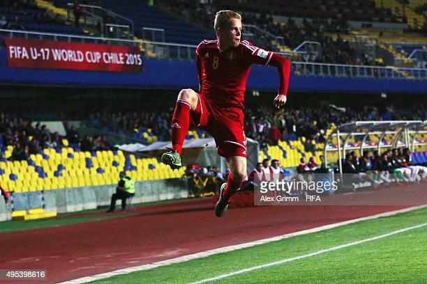 Dante Rigo of Belgium celebrates his team's first goal during the FIFA U17 World Cup Chile 2015 Quarter Final match between belgium and Costa Rica at...