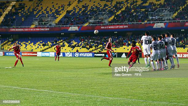 Dante Rigo of Belgium scores his team's first goal with a freekick during the FIFA U17 World Cup Chile 2015 Quarter Final match between belgium and...