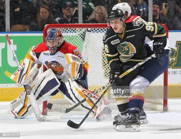 Dante Salituro of the London Knights looks for a puck to tip at Troy Timpano of the Erie Otters during an OHL game at Budweiser Gardens on March 10...