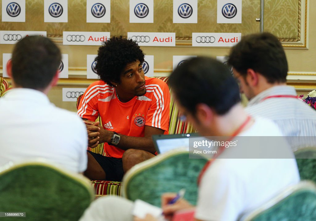 Dante talks to the media during a Bayern Muenchen press conference at Grand Heritage Hotel on January 3, 2013 in Doha, Qatar.
