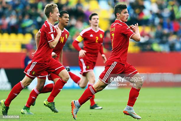 Dante Vanzeir of Belgium celebrates his team's second goal with team mates during the FIFA U17 World Cup Chile 2015 Third Place PlayOff match between...