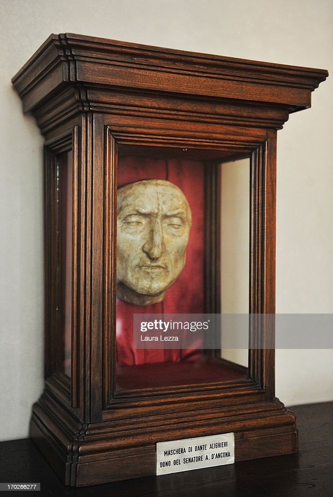 Dante's death mask is displayed at Palazzo Vecchio on June 8, 2013 in Florence, Italy. The latest book by the American writer Dan Brown is set largely in Florence historic centre and the plot is based on Dante's Divina Commedia ('Divine Comedy') and its Inferno. In the novel there are many references to his city and to his work.