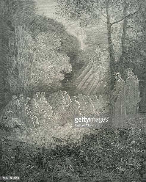 Dante's purgatory part of his Divina Commedia / Divine Comedy Illustration by Gustave DorŽ Canto VII lines 8284 ' 'Salve Regina' on the grass and...