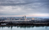 Danube river and Bratislava new town cloudy sunset