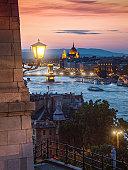 Danube river in Budapest at night