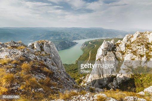 Danube river in Djerdap National park, Serbia : Stock Photo