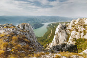 Cliffs over Danube river, Djerdap National park, east Serbia. View from the top of the cliffs