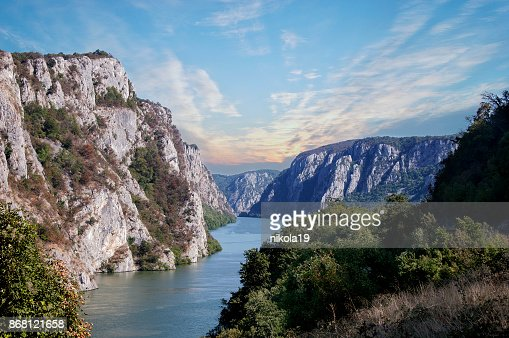 Danube river near the Serbian city of Donji Milanovac in the Iron Gates also known as Djerdap which are the Danube gorges a natural symbol of the border between Serbia and Romania. : Stock Photo