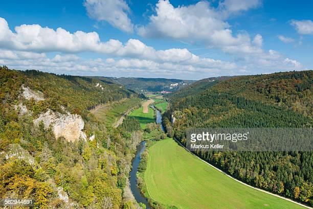 Danube Valley seen from Knopfmacherfelsen rock in the autumn, Baden-Wurttemberg, Germany