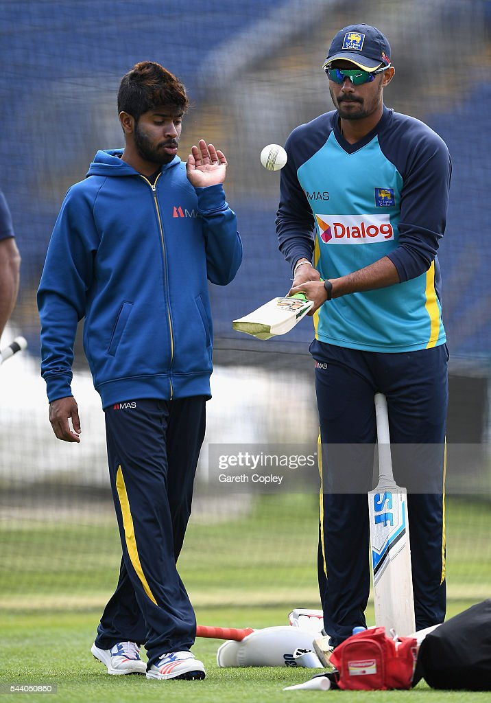 Danushka Gunathilaka and Niroshan Dickwella of Sri Lanka during a nets session at SWALEC Stadium on July 1, 2016 in Cardiff, England.