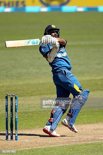 Danushka Gunathilaka of Sri Lanka bats during the third One Day International match between New Zealand and Sri Lanka at Saxton Field on December 31...