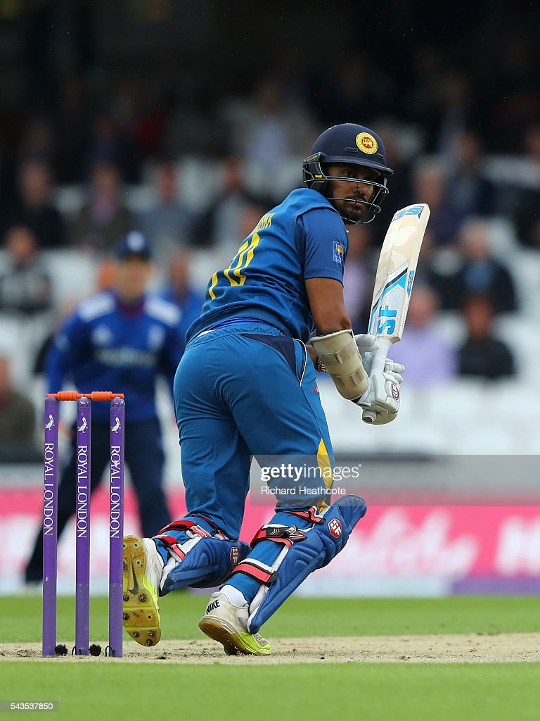 Danushka Gunathilaka of Sri Lanka clips the ball away to score runs during the 4th Royal London ODI between England and Sri Lanka at The Kia Oval on June 29, 2016 in London, England.