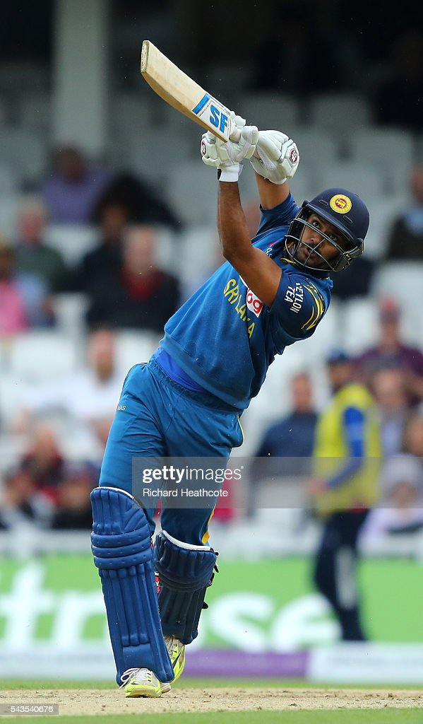 Danushka Gunathilaka of Sri Lanka drives the ball to the boundary during the 4th Royal London ODI between England and Sri Lanka at The Kia Oval on June 29, 2016 in London, England.