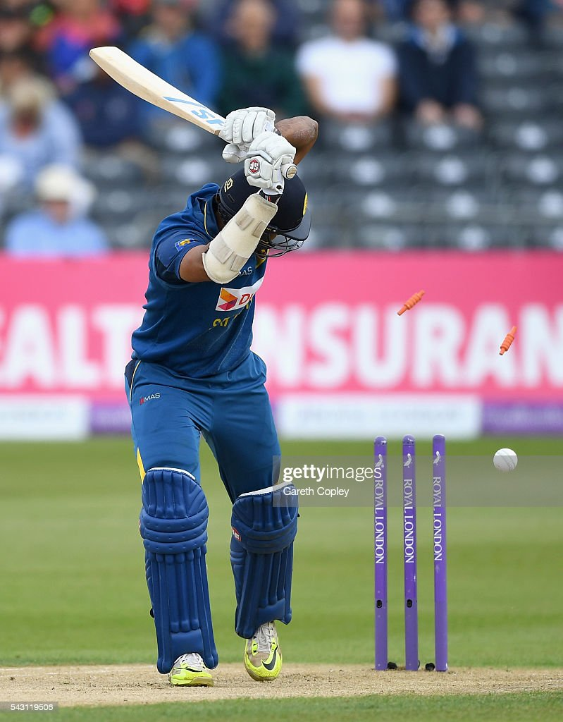 Danushka Gunathilaka of Sri Lanka is bowled by David Willey of England during the 3rd ODI Royal London One Day International match between England and Sri Lanka at The County Ground on June 26, 2016 in Bristol, England.