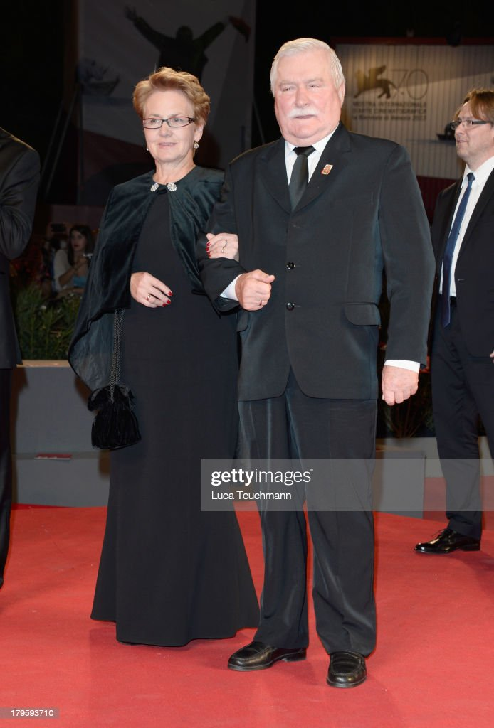 Danuta Walesa and <a gi-track='captionPersonalityLinkClicked' href=/galleries/search?phrase=Lech+Walesa&family=editorial&specificpeople=93677 ng-click='$event.stopPropagation()'>Lech Walesa</a> attend 'Walesa. Man of Hope' Premiere And Premio Persol Ceremony during the 70th Venice International Film Festival at Sala Grande on September 5, 2013 in Venice, Italy.
