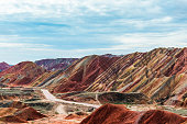 danxia landform,gansu province,china.high angle view.
