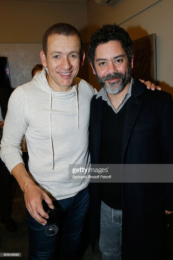 Dany Boon and Manu Payet pose Backstage after the 'Dany De Boon Des Hauts-De-France' Show at L'Olympia on November 16, 2016 in Paris, France.