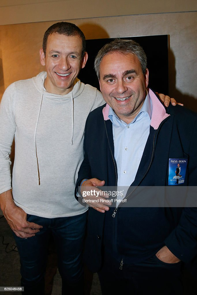 Dany Boon and politician Xavier Bertrand pose Backstage after the 'Dany De Boon Des Hauts-De-France' Show at L'Olympia on November 16, 2016 in Paris, France.
