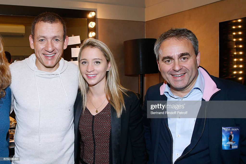Dany Boon, politician Xavier Bertrand and his wife Emmanuelle Gontier pose Backstage after the 'Dany De Boon Des Hauts-De-France' Show at L'Olympia on November 16, 2016 in Paris, France.
