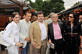Dany Boon with his wife Yael Pierre Herme and Bernard Pivot at Roland Garros Village in Paris