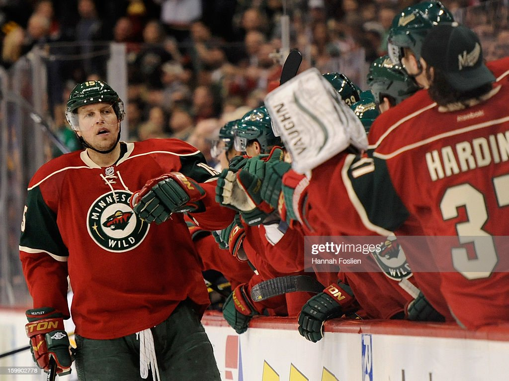 Dany Heatley #15 of the Minnesota Wild celebrates a goal during the first period of the game against the Nashville Predators on January 22, 2013 at Xcel Energy Center in St Paul, Minnesota.