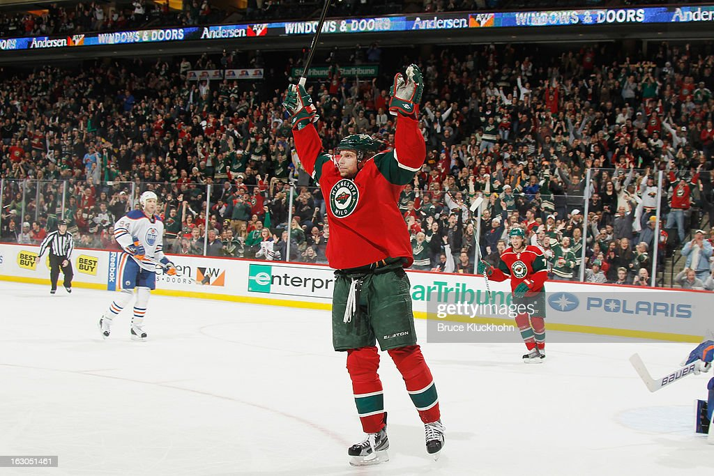 <a gi-track='captionPersonalityLinkClicked' href=/galleries/search?phrase=Dany+Heatley&family=editorial&specificpeople=202142 ng-click='$event.stopPropagation()'>Dany Heatley</a> #15 of the Minnesota Wild celebrates after scoring a goal against the Edmonton Oilers during the game on March 3, 2013 at the Xcel Energy Center in Saint Paul, Minnesota.