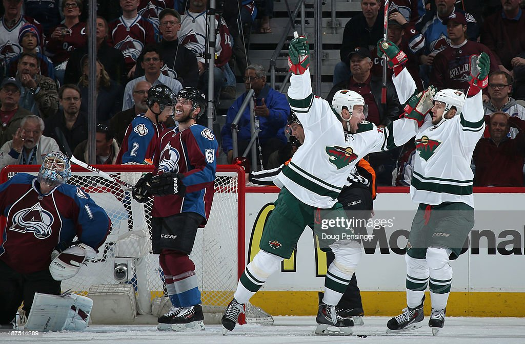 <a gi-track='captionPersonalityLinkClicked' href=/galleries/search?phrase=Dany+Heatley&family=editorial&specificpeople=202142 ng-click='$event.stopPropagation()'>Dany Heatley</a> #15 of the Minnesota Wild celebrates his goal against goalie <a gi-track='captionPersonalityLinkClicked' href=/galleries/search?phrase=Semyon+Varlamov&family=editorial&specificpeople=6264893 ng-click='$event.stopPropagation()'>Semyon Varlamov</a> #1 of the Colorado Avalanche to tie the score 2-2 in the second period of Game Seven of the First Round of the 2014 NHL Stanley Cup Playoffs at Pepsi Center on April 30, 2014 in Denver, Colorado.